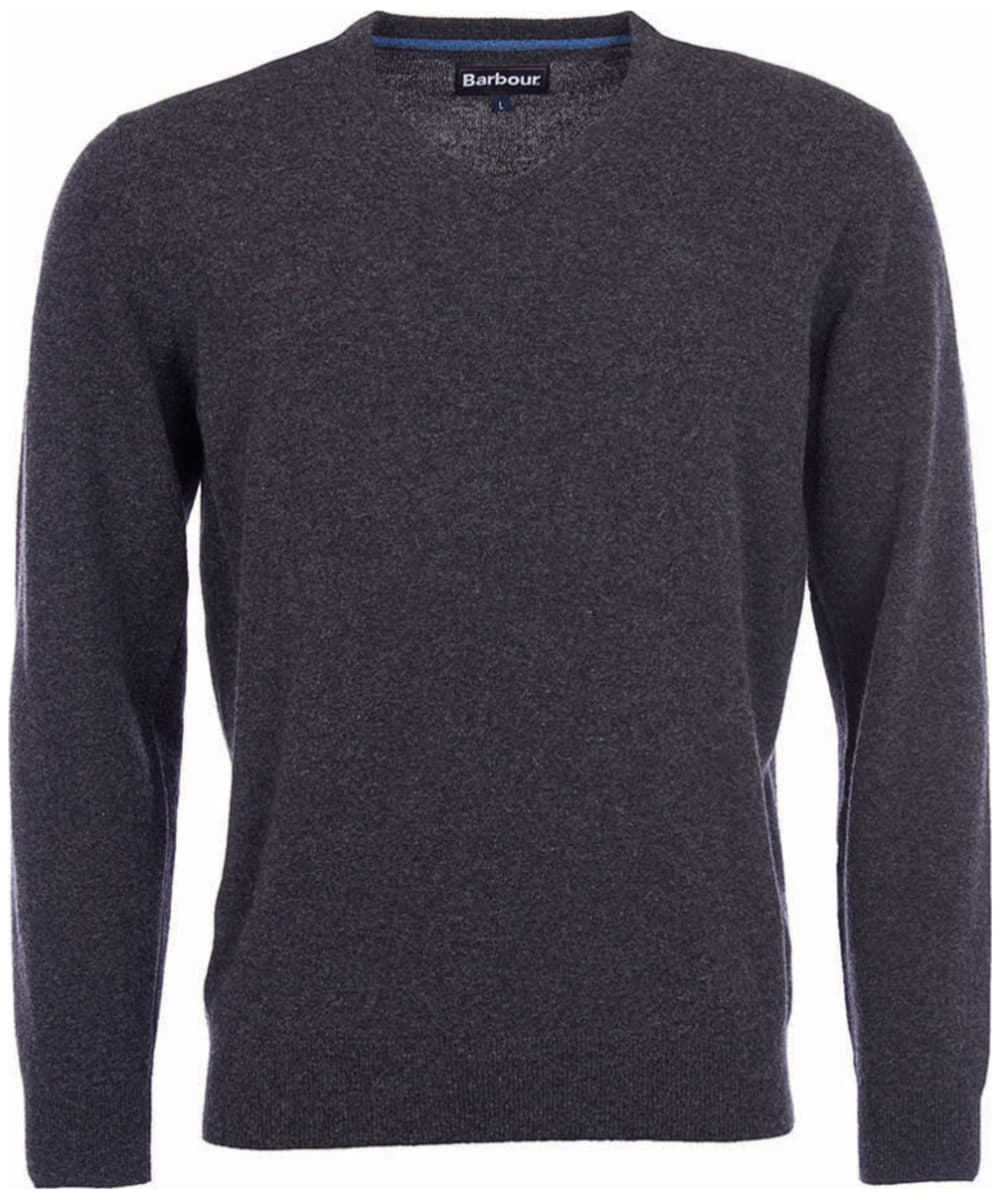 e3d147ec69aec ... Mens Barbour Essential Lambswool V Neck Sweater - Charcoal ...