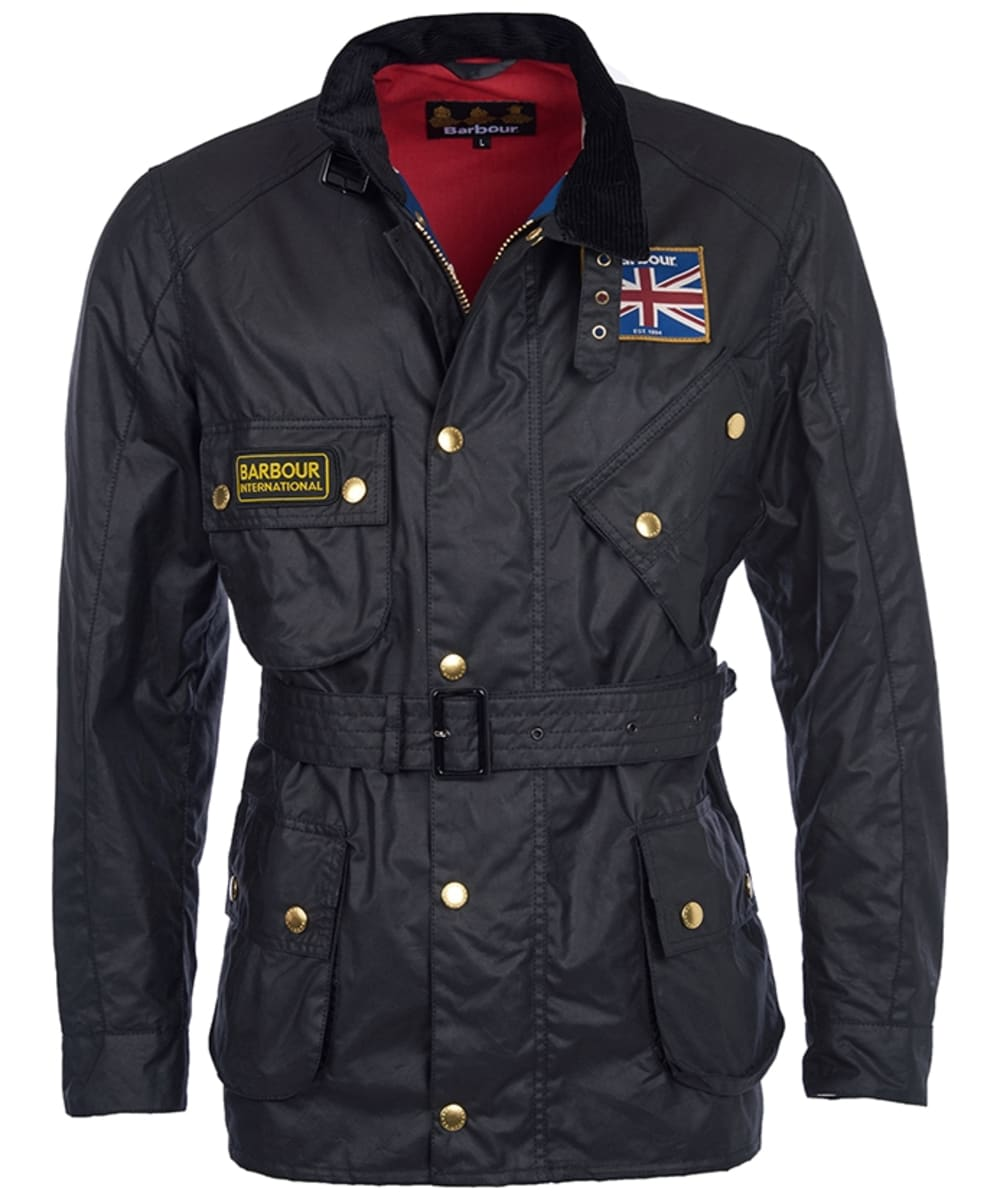 2646c22d1de Men's Barbour International Union Jack Waxed Jacket - Black | Union Jack
