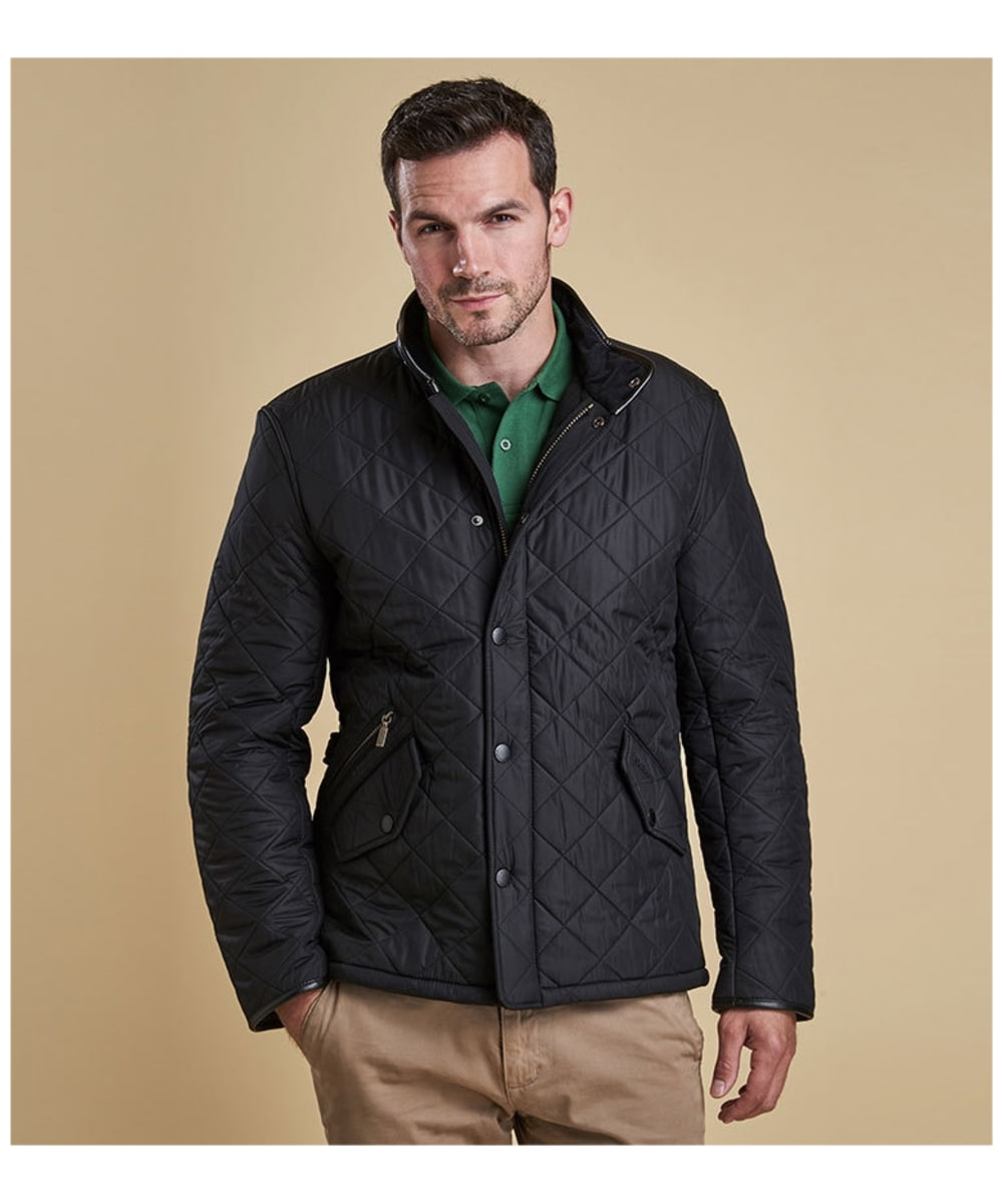 9bffded9af2d ... Mens Barbour Powell Quilted Jacket - Black ...