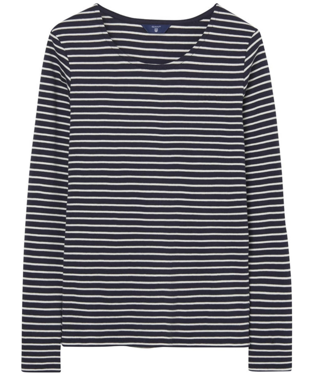 Women s GANT Striped Long Sleeve T-shirt - Evening Blue 71de191273a3