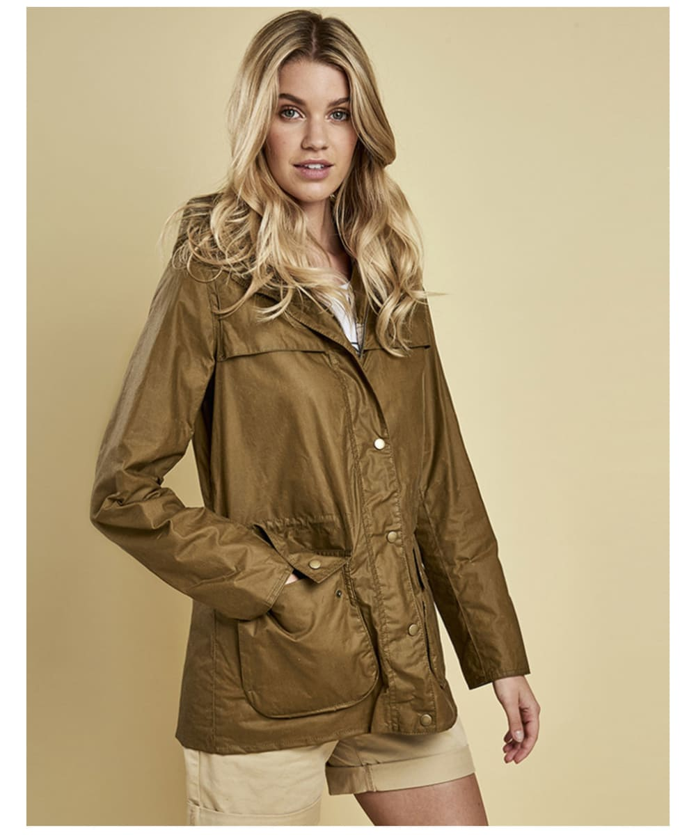 ... Women s Barbour Lightweight Durham Wax Jacket - Sand ... 2a96525681
