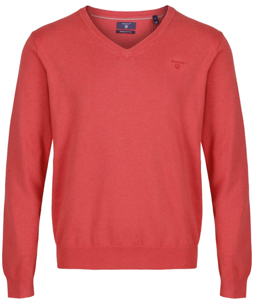 9eda74c0a9 ... Men's GANT Lightweight Cotton V-Neck - Chrysantemum Red Melange ...