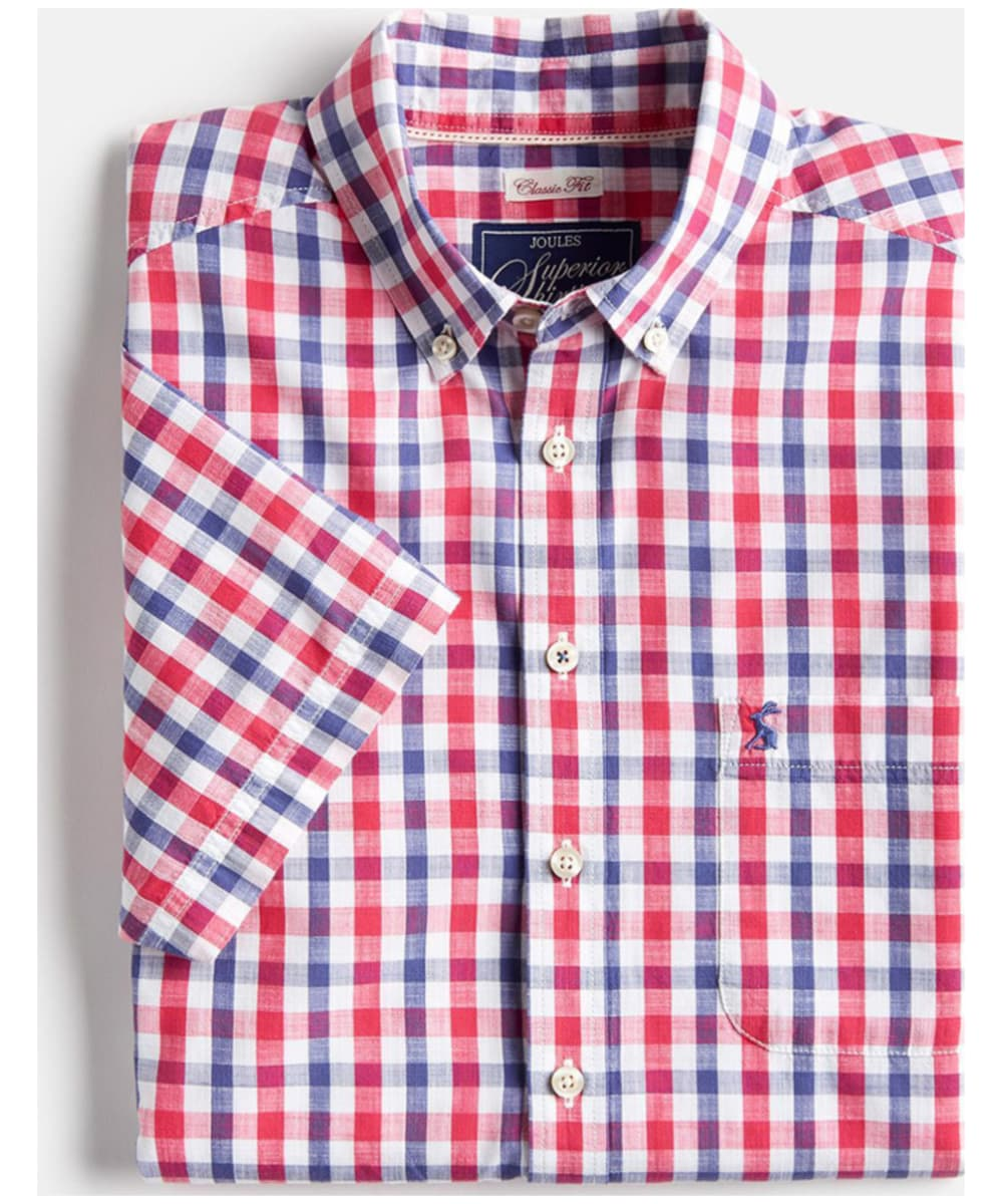 85d30bc1 ... Navy / Pink Gingham Men's Joules Short Sleeve Wilson Shirt - Upper and  collar ...