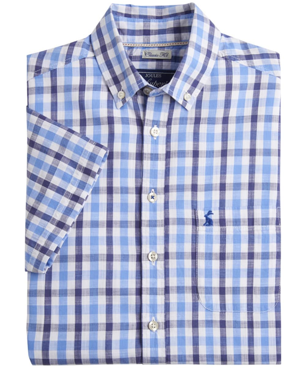 08af7814 ... Men's Joules Short Sleeve Wilson Shirt - Blue Gingham ...