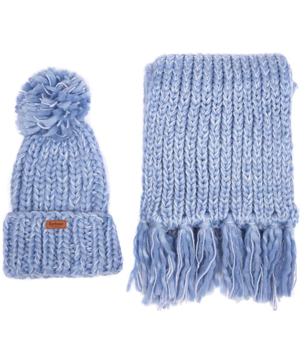Women s Barbour Chunky Knit Hat and Scarf Set - Pale Blue 7cca0513353