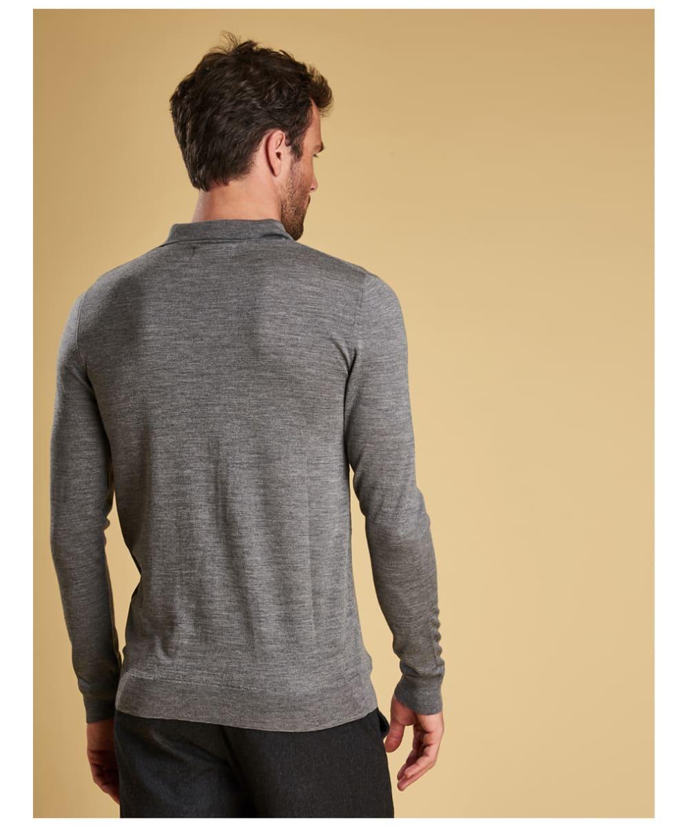 db1309b52dfe ... Mid Grey Marl Men's Barbour Merino Long Sleeve Polo Top - Back ...