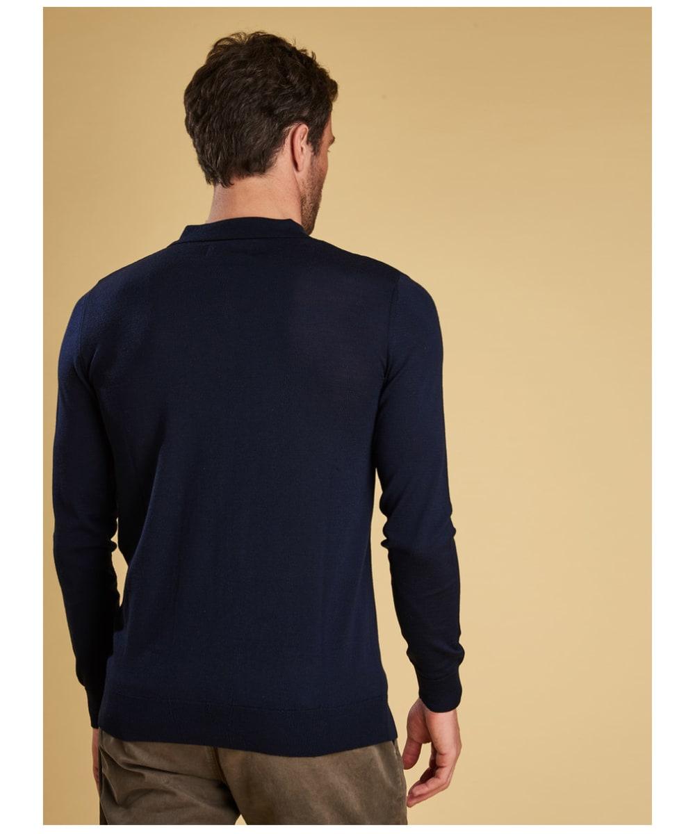d68524fe1895 ... Men's Barbour Merino Long Sleeve Polo Top - Back ...