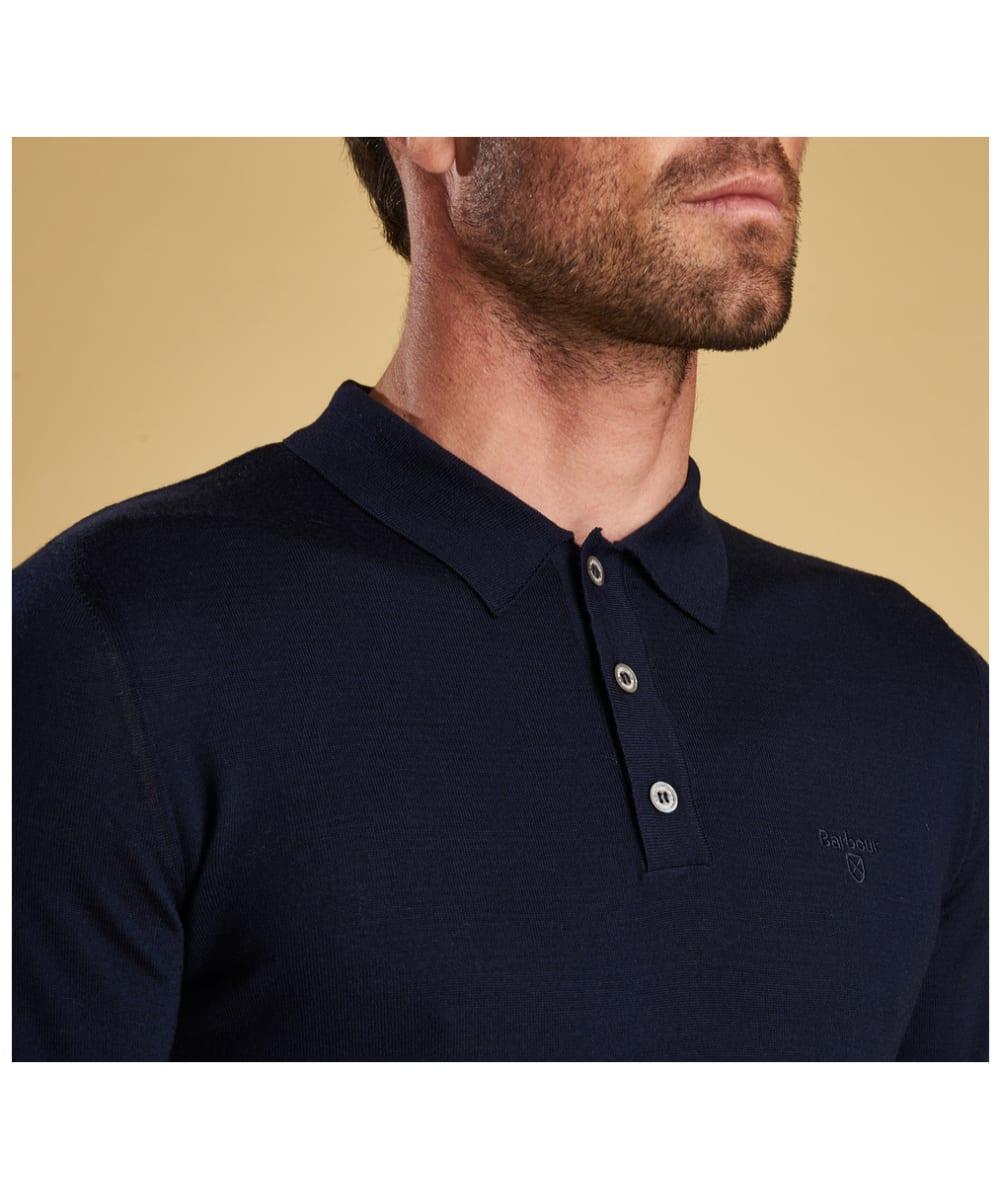 8c277d4c2324 ... Men's Barbour Merino Long Sleeve Polo Top - Collar ...