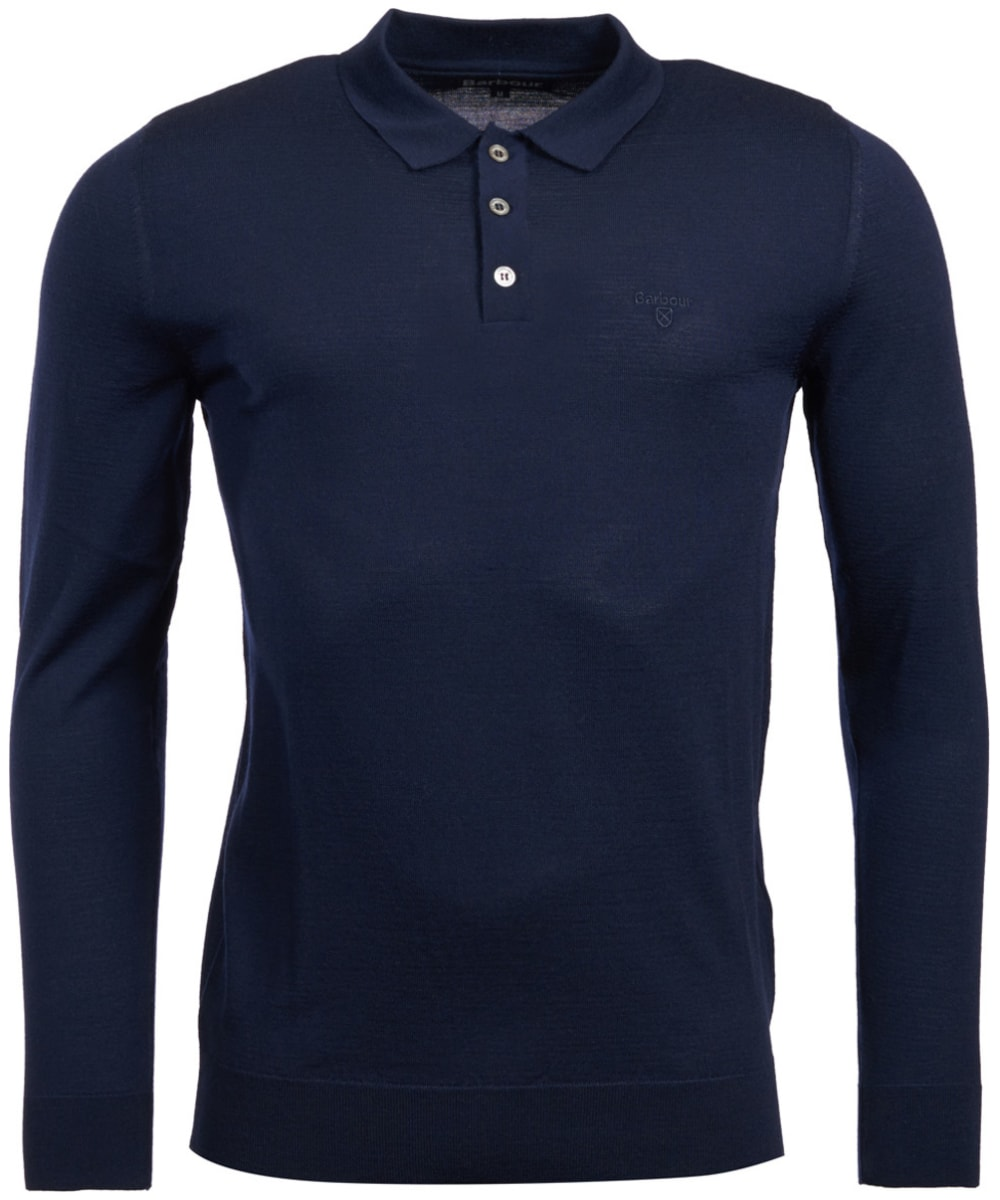 07ee56d9c90d ... Men's Barbour Merino Long Sleeve Polo Top - Navy ...