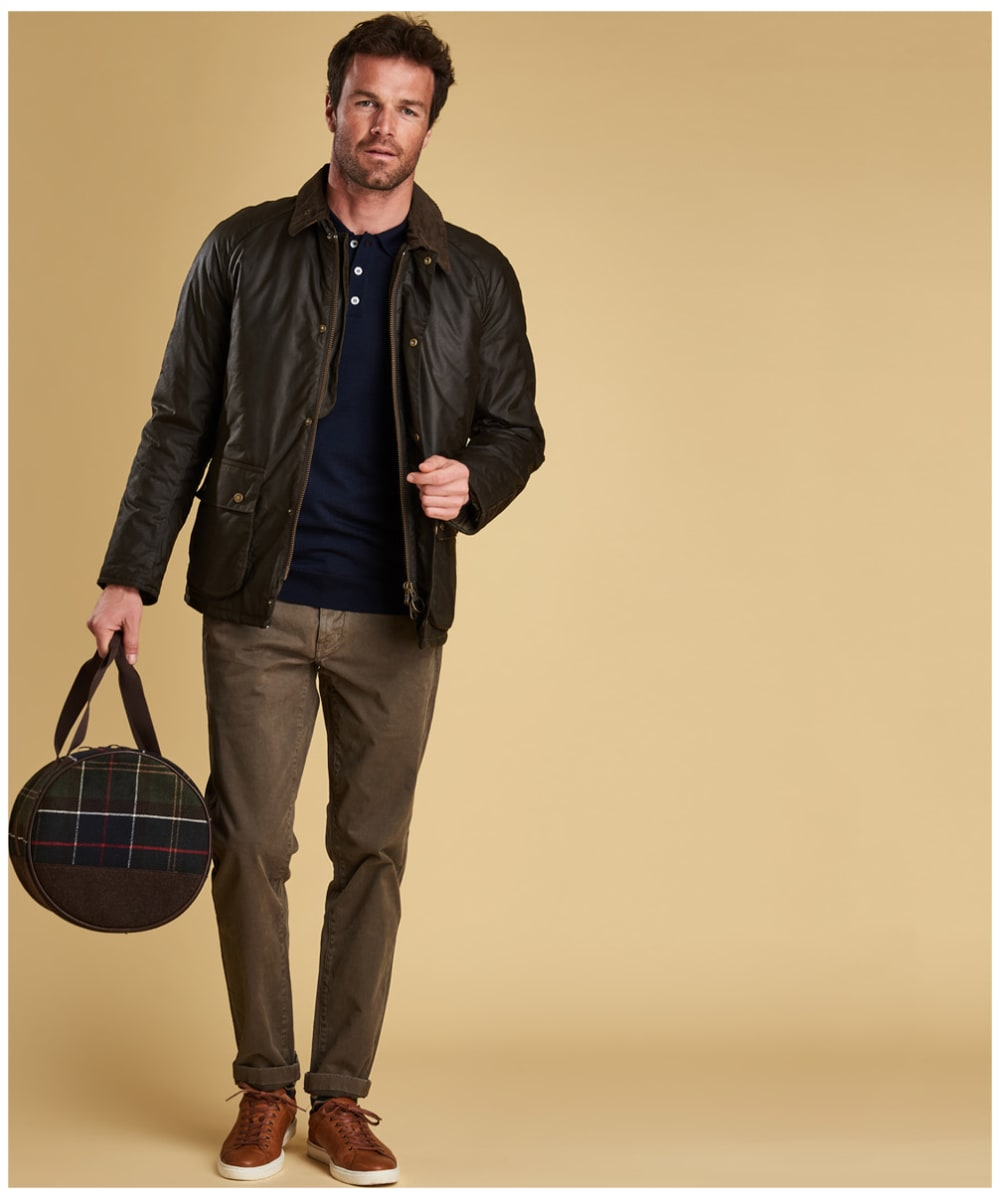 e366b9acd5dd ... Men's Barbour Merino Long Sleeve Polo Top - Full model shot ...