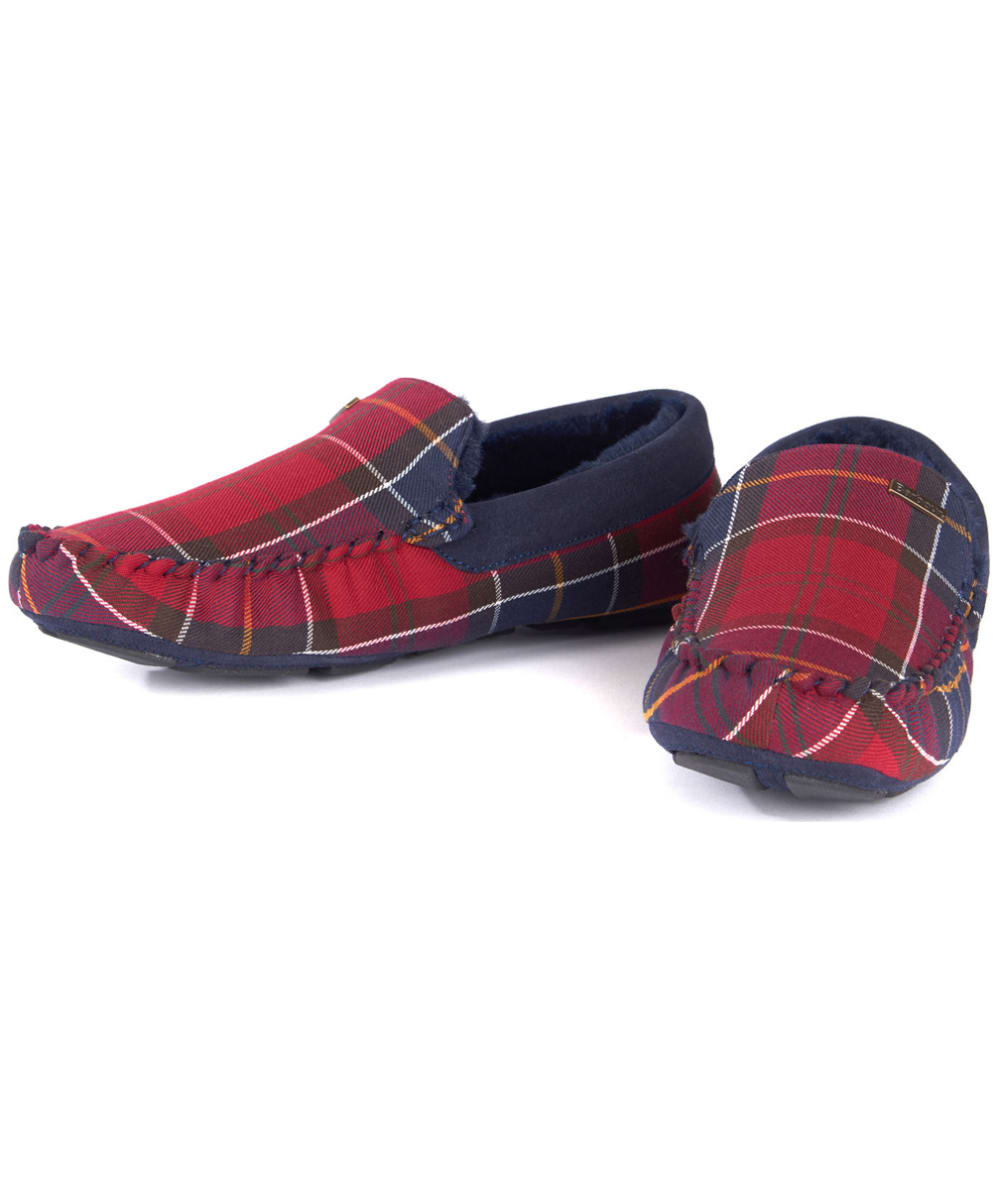 92b3c94e78b1 ... Men s Barbour Monty House Slippers - Merlot Tartan ...