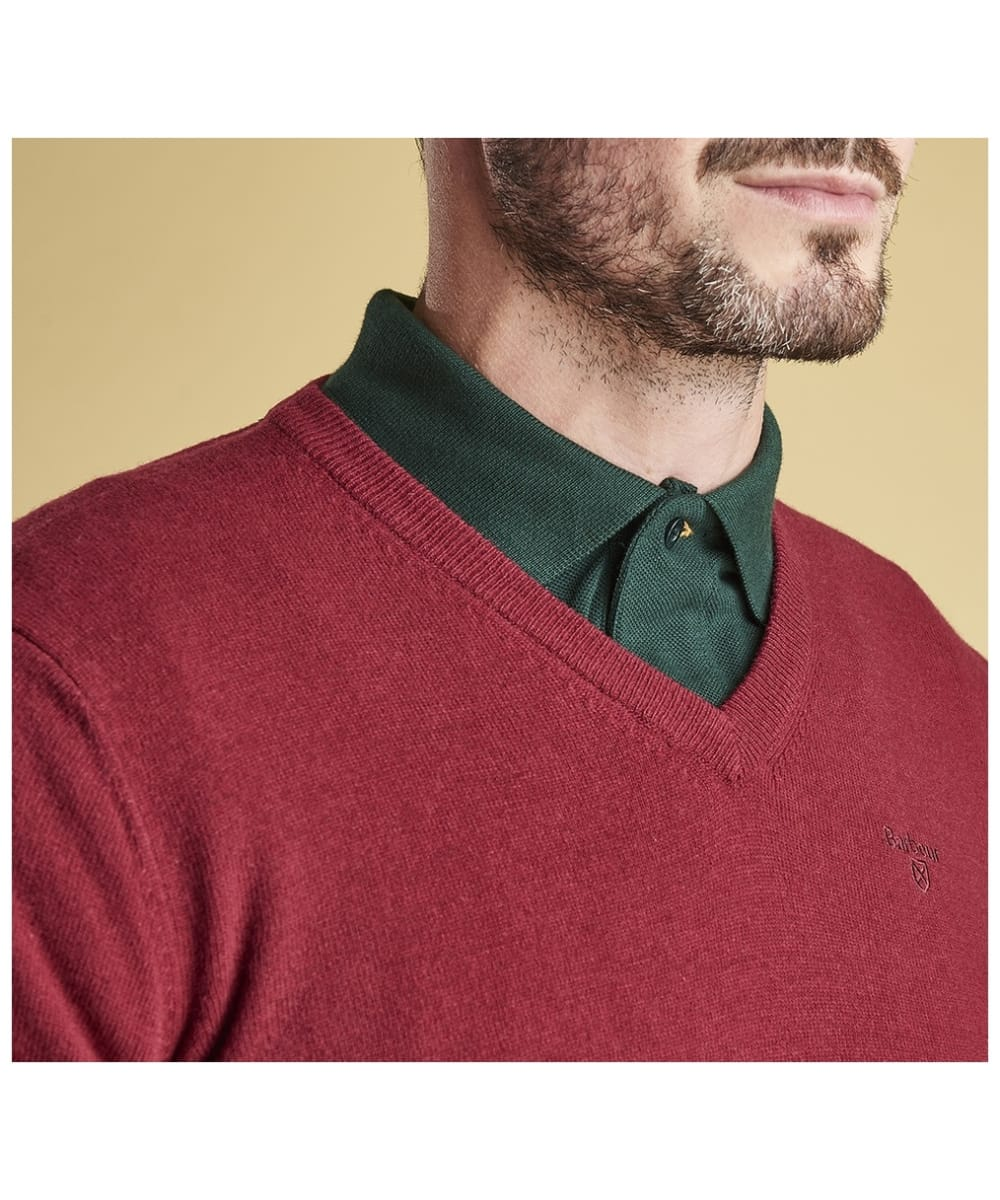 d61e55022f4c5 ... Men s Barbour Essential Lambswool V Neck Sweater - Biking Red ...