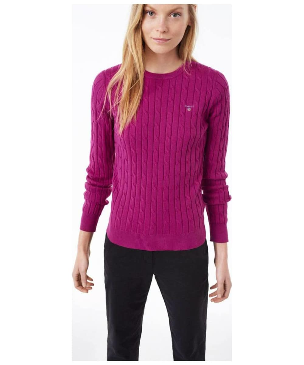 ... Women s GANT Stretch Cotton Cable Sweater - Raspberry Red ... 4966f0eba709