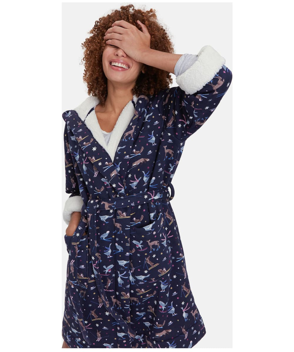 eea1b1d55b ... Women s Joules Idlewhile Jersey Dressing Gown - French Navy Woodland  Ski ...