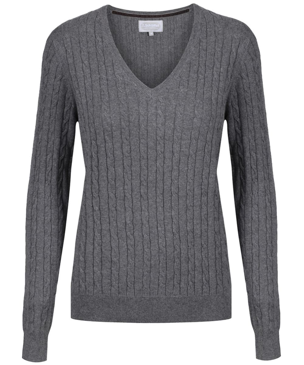 80dbe1199891a8 Women s Schoffel Cotton Cashmere Cable Knit V Neck Sweater - Flannel