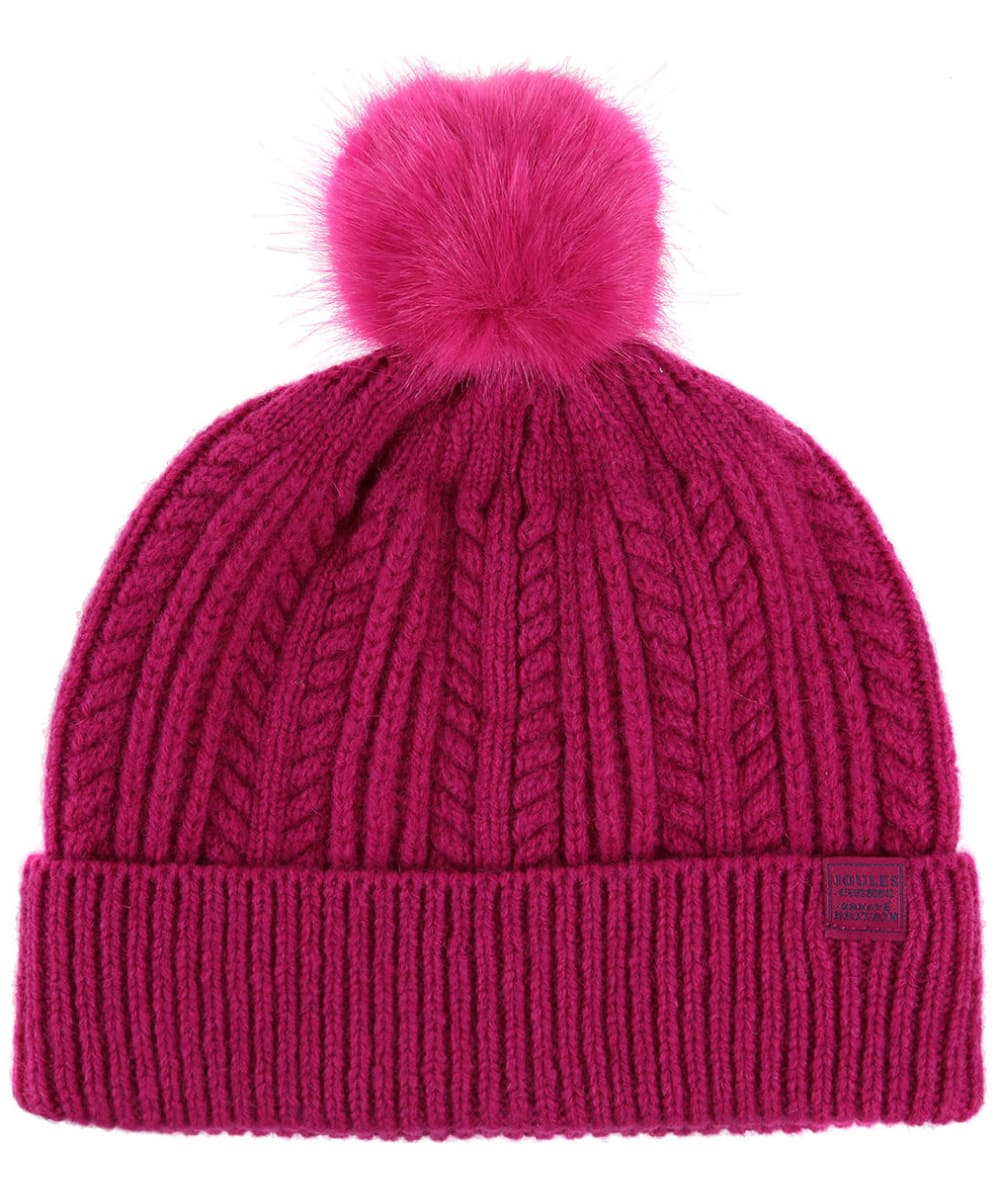 6e4a54839f3 Women s Joules Cable Knit Bobble Hat - Ruby