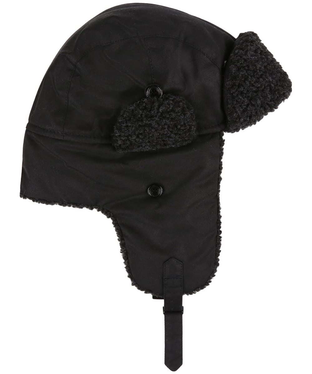c1d1e496113 ... Men s Barbour Fleece Lined Trapper Waxed Hat - Black ...