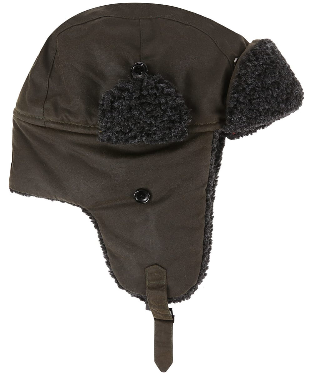 cc4361999b1b ... Men's Barbour Fleece Lined Trapper Waxed Hat - Olive ...