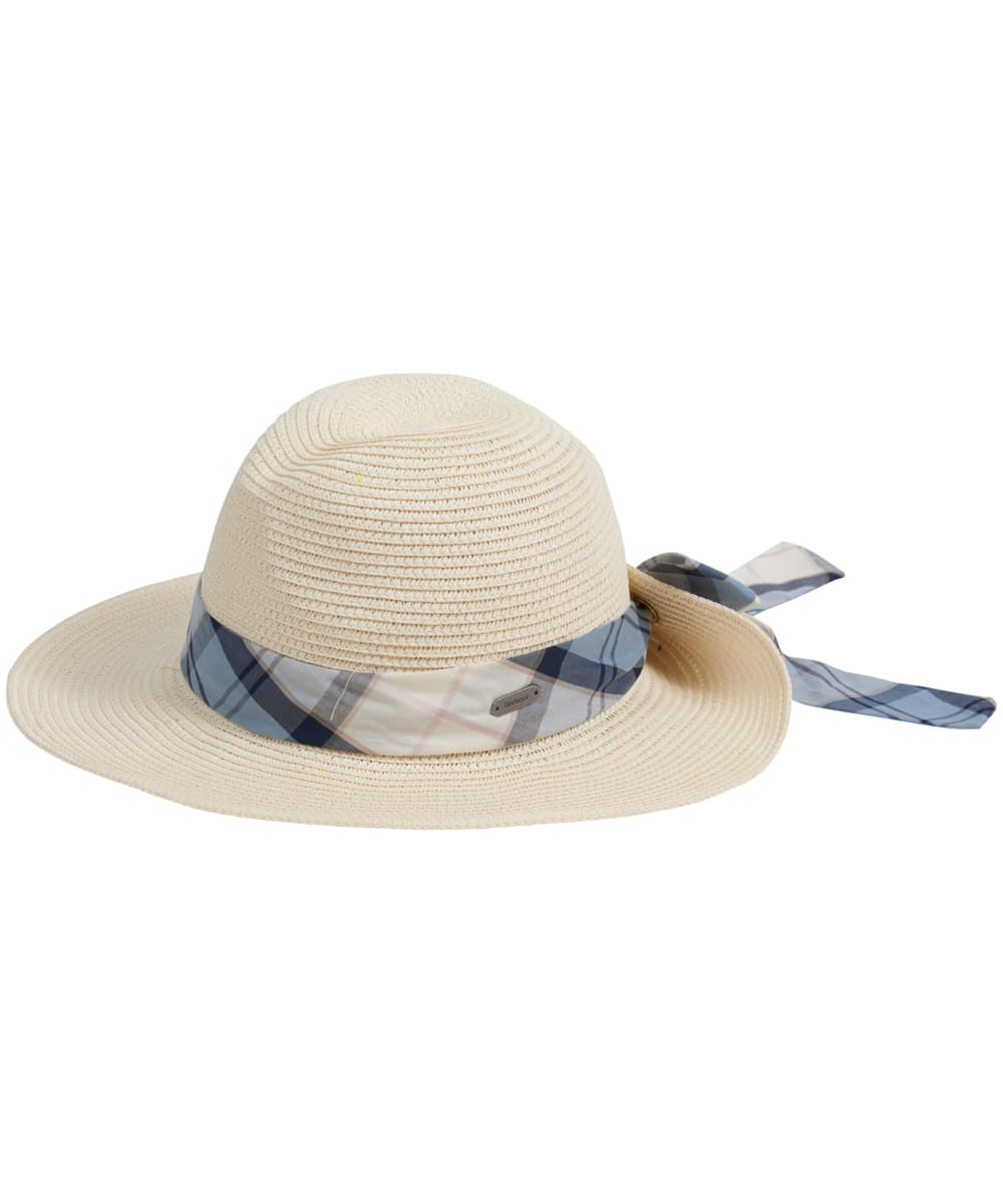 92568fac004 Women s Barbour Lorne Tartan Trimmed Fedora Hat - Natural