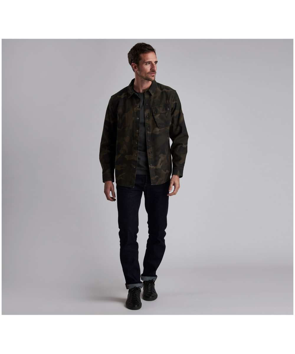 89bfd7982b021 ... Men's Barbour International Camo Overshirt - Dark Olive ...
