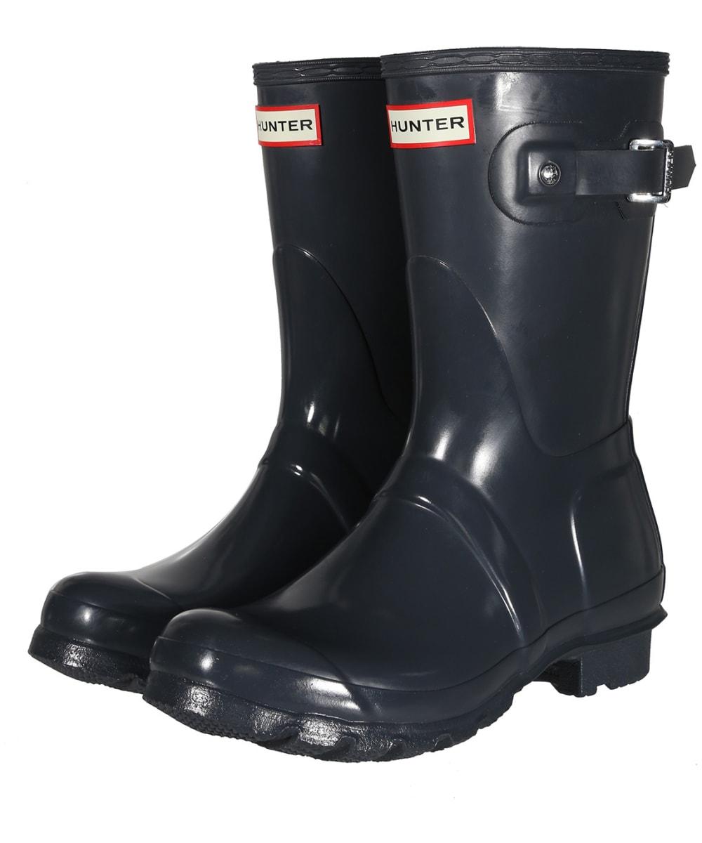 5ffc8fd76 ... Black Women's Hunter Original Short Gloss Wellington Boots - Dark Slate  ...