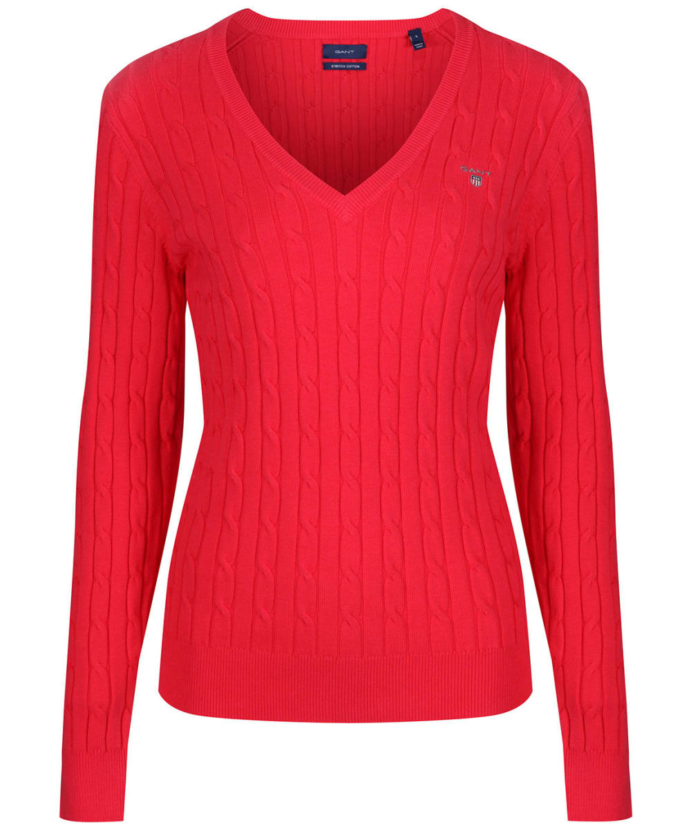 b02385cee7e19d Women's Gant Stretch Cotton Cable V-Neck - Watermelon Red.