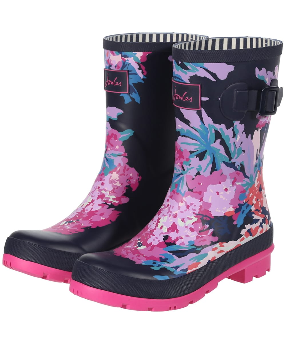 Joules Molly Welly Mid Height Women Rubber Navy Floral Rain Boots UK Size 3-8
