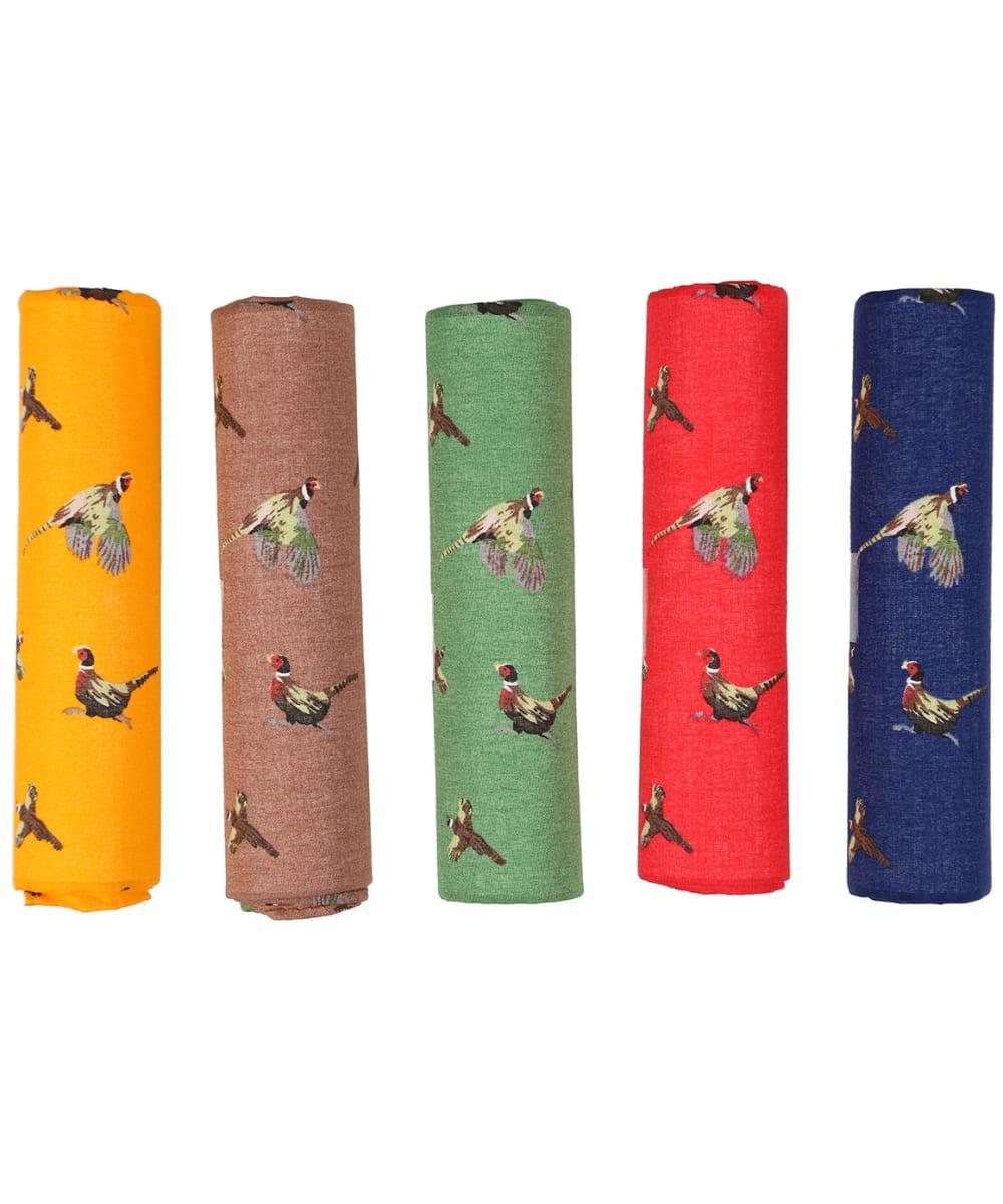 5 Colour Pheasant Patterned Cotton Hanky Set