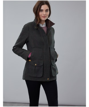 Women's Joules Fieldcoat Tweed Jacket - Dark Green Tweed