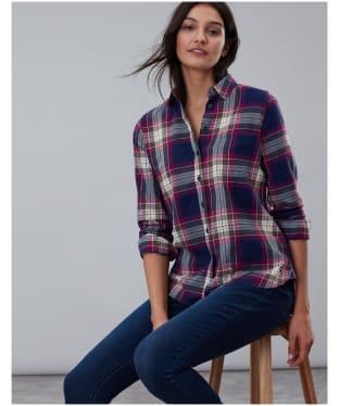 Women's Joules Lorena Longline Brushed Shirt - Berry Check