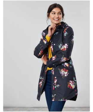 Women's Joules Loxley Print Waterproof Jacket - Black Peony