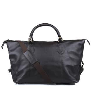 Barbour Leather Medium Travel Explorer Bag - Chocolate