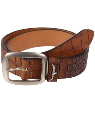 Men's R.M. Williams Croc Print Belt - Brown