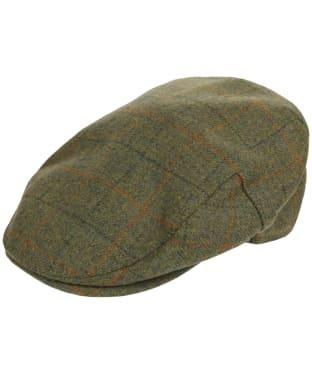 Men's Barbour Wool Crieff Flat Cap - Olive Plaid