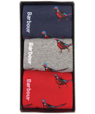 Men's Barbour Pheasant Sock Gift Box - Navy / Grey / Red