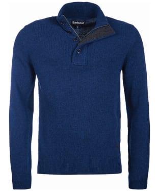 Men's Barbour Patch Half Button Lambswool Sweater - Deep Blue