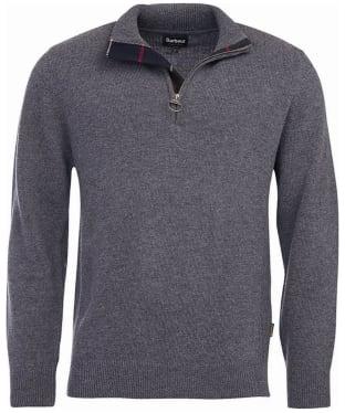 Men's Barbour Holden Half Zip Sweater - Mid Grey Marl