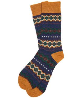 Men's Barbour Caistown Fairisle Socks - Navy
