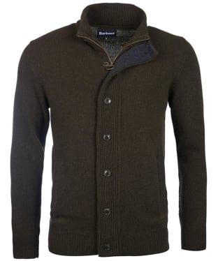Men's Barbour Patch Zip Through Sweater - Seaweed