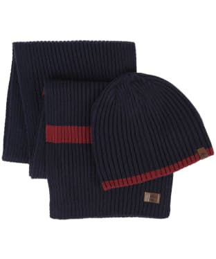 Men's Timberland Ribbed Hat and Scarf Gift Set - Dark Navy