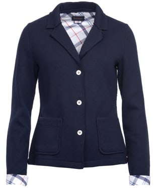 Women's Barbour Leathen Knit Jacket - Navy