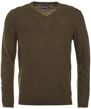 Men's Barbour Essential Lambswool V Neck Sweater - Olive Marl