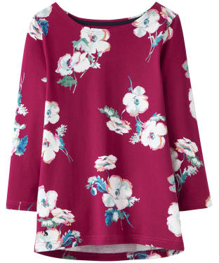 Women's Joules Harbour Print Jersey Top - Ruby Poppy