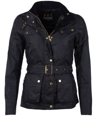Women's Barbour International Anglesey Waxed Jacket - Black