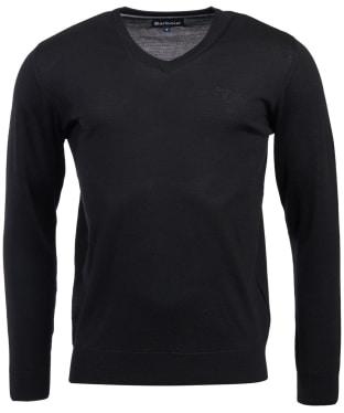 Men's Barbour Merino V Neck Sweater - Black