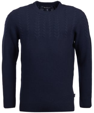 Men's Barbour Crastill Cable Knit Crew Neck Sweater - Navy