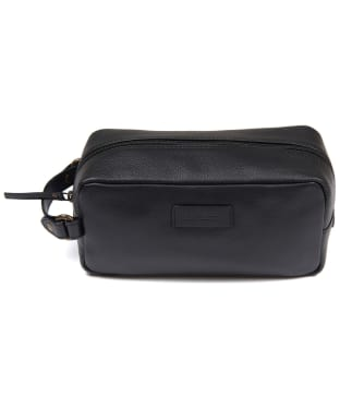 Men's Barbour Compact Leather Washbag - Black