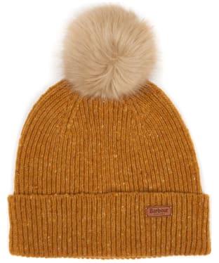 Women's Barbour Foreland Pom Beanie Hat - Gold