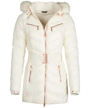 Women's Barbour International Grand Quilted Jacket - Cloud