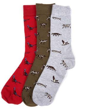 Men's Barbour Animal Mix Socks Giftbox - Multi